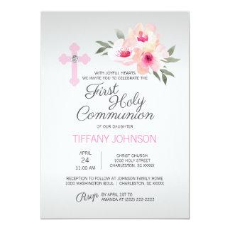 Erstes heilige Kommunion rosa Quer-MIT Karte