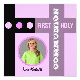 Erstes heilige Kommunions-Einladungs-Rosa 2 Quadratische 13,3 Cm Einladungskarte