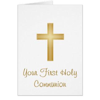 Erstes heilige Kommunions-/Goldkreuz Karte