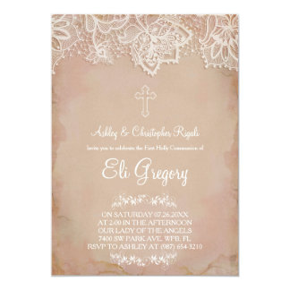 Erstes Kommunion ~ Taufe-Einladungs-Rosa Vintag Karte