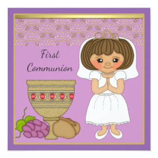Erstes Kommunions-Mädchen in Lila Quadratische 13,3 Cm Einladungskarte