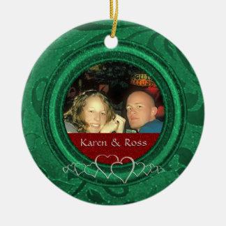 Erstes kundenspezifisches Foto Weihnachtsherr-Frau Keramik Ornament