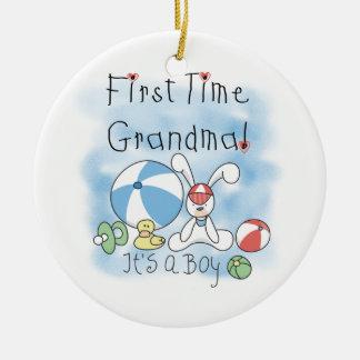 Erstes Mal-Großmutter der Jungen-Geschenke Keramik Ornament