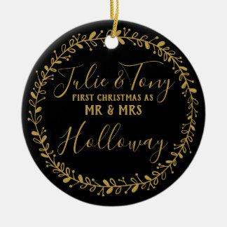 erstes Weihnachten als Herr u. Frau Baum Keramik Ornament