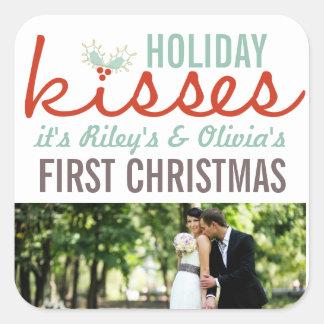 Erstes Weihnachten als Herr u. Frau Foto Holiday Quadratischer Aufkleber