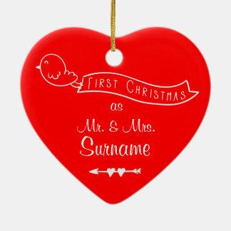 Erstes Weihnachten als Herr u. Frau Personalized Keramik Herz-Ornament