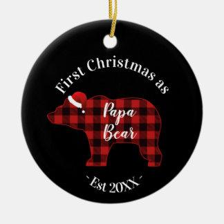 Erstes Weihnachten als Papa-Bärn-Büffel kariert Keramik Ornament