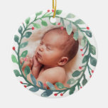 Erstes Weihnachten des Babys Weihnachtsder Rundes Keramik Ornament