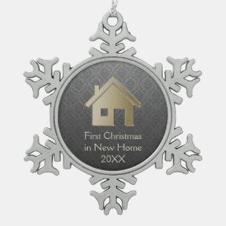 Erstes Weihnachten im neuen Damast des Schneeflocken Zinn-Ornament