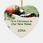 Erstes Weihnachten im neuen Keramik Herz-Ornament