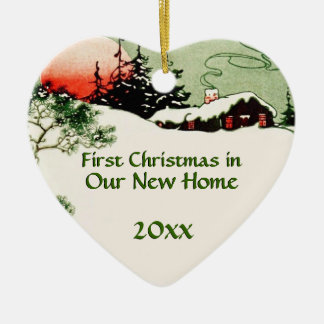 Erstes Weihnachten im neuen Land-Kabinen-Herzen Keramik Ornament