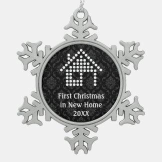 Erstes Weihnachten im neuen Zuhause Schneeflocken Zinn-Ornament