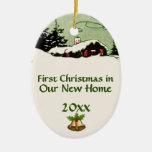 Erstes Weihnachten in der neuen Ovales Keramik Ornament