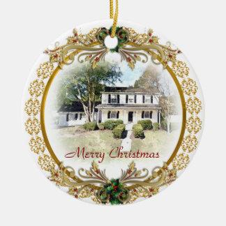 Erstes Weihnachten in der neuen Zuhauseverzierung Rundes Keramik Ornament