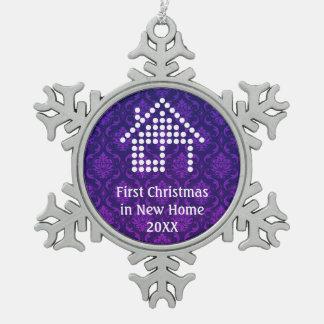 Erstes Weihnachten in neuem Zuhause | Damast Schneeflocken Zinn-Ornament