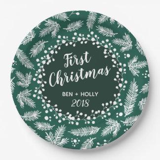 Erstes Weihnachtshochzeits-Immergrün Pappteller