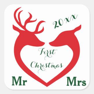 Erstes Weihnachtsverheirateter Herr und Frau Heart Quadratischer Aufkleber