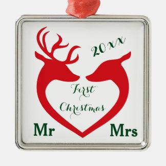 Erstes Weihnachtsverheirateter Herr und Frau Heart Silbernes Ornament
