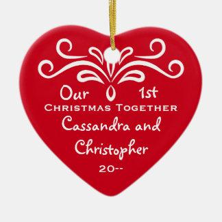 Erstes Weihnachtszusammen Herz Keramik Ornament