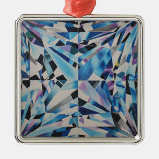 Erstklassige Glasdiamant-Quadrat-Verzierung Silbernes Ornament