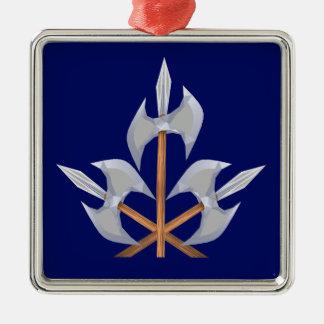 Erstklassige quadratische gekreuzte Kampf-Äxte der Silbernes Ornament