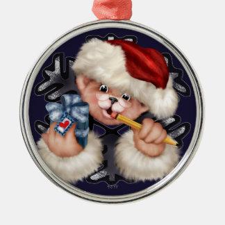 Erstklassige runde Verzierung des Weihnachtsbärn-2 Silbernes Ornament