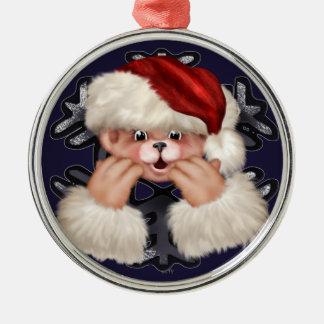 Erstklassige runde Verzierung des Weihnachtsbärn-4 Silbernes Ornament