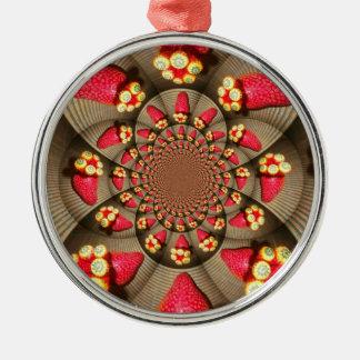 Erstklassige runde Verzierung ERDBEERE VINTAG Rundes Silberfarbenes Ornament