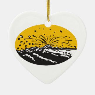 Eruptions-Insel-Bildungs-Oval-Holzschnitt Keramik Herz-Ornament