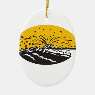 Eruptions-Insel-Bildungs-Oval-Holzschnitt Keramik Ornament