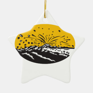 Eruptions-Insel-Bildungs-Oval-Holzschnitt Keramik Stern-Ornament