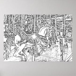 Erwachsener Farbton: Pferd auf einem Poster