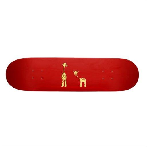 Erwachsener und Baby-Giraffe. Cartoon Bedrucktes Skateboard