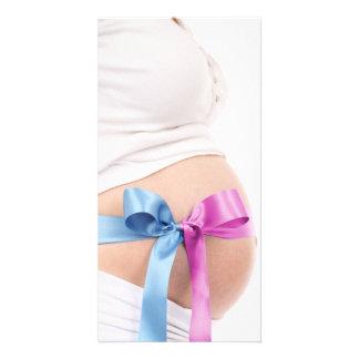 Erwartung des Jungen oder des Mädchens--Schwangere Photo Karten Vorlage