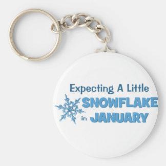 Erwartung einer wenig Schneeflocke-im Januar Schlüsselanhänger