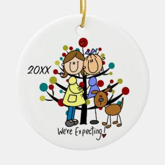 Erwartungsvolle Mamma-Hundefeiertags-Verzierung Keramik Ornament