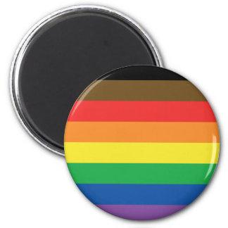 Erweiterte Gay Pride-Regenbogen-Flagge Runder Magnet 5,1 Cm