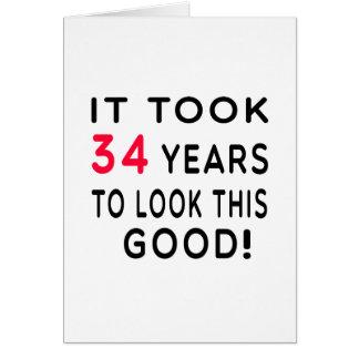 Es dauerte 34 Jahre Geburtstags-Entwurfs- Karte