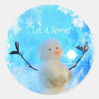 Es gelassen Schnee-Man Runder Aufkleber