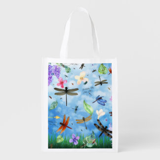 Es gibt Drache-wunderlichen Libellen-Entwurf Wiederverwendbare Einkaufstaschen