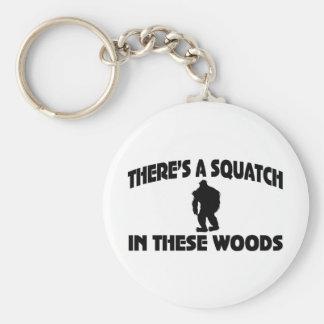 Es gibt ein Squatch in diesem Holz Standard Runder Schlüsselanhänger