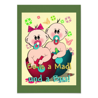 Es is a Madl und a Bua! 11,4 X 15,9 Cm Einladungskarte