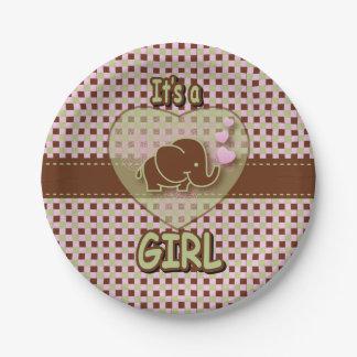 Es ist ein Baby-Elefant des Mädchen-  Pappteller