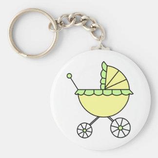 Es ist ein Baby! Gelbgrün-Kinderwagen Schlüsselanhänger