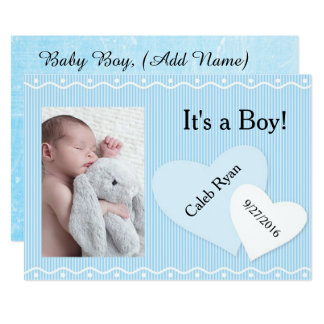 Es ist ein Junge! Blaue Herz-Geburts-Mitteilung Karte