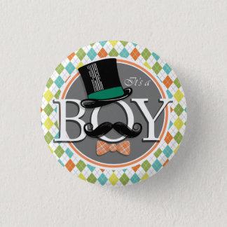 Es ist ein Junge!  Bunte Raute Runder Button 2,5 Cm