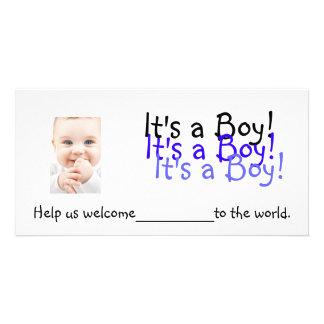 Es ist ein Junge!  Einladungen Personalisierte Foto Karte
