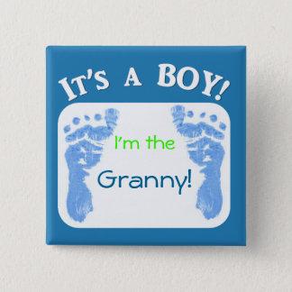 Es ist ein Junge! Fertigen Sie Ihren Babyknopf Quadratischer Button 5,1 Cm