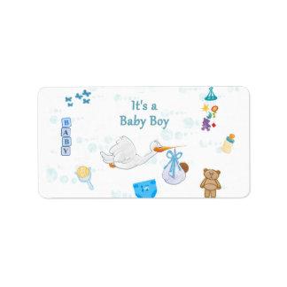 Es ist ein Junge - personalisierte Baby-Dusche Adressaufkleber