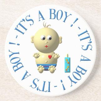 Es ist ein Junge! Sandstein Untersetzer